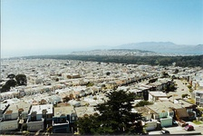"View of the ""Inner Sunset District"" facing Golden Gate Park"