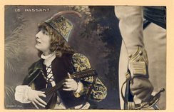 Bernhardt as the boy troubadour, Zanetto, in Le Passant (1869) by François Coppée