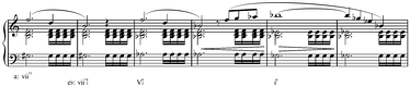 Modulation from A minor to E♭ minor in Schubert's Op.29, D. 804, I, mm.144-49, using viio7: G♯o7 ≡ Do7 (≡ Bo7 ≡ Fo7)[9] Play (help·info)
