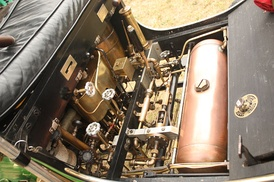 The engine of a modern Locomobile Steam car