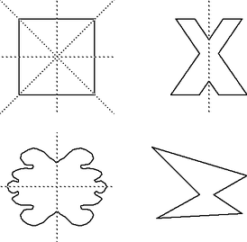 Figures with the axes of symmetry drawn in. The figure with no axes is asymmetric.