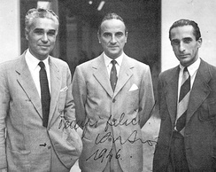 Cisitalia people. From left: Piero Taruffi, Piero Dusio and Giovanni Savonuzzi.
