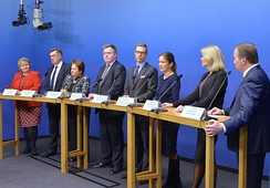 Prime ministers of the Nordic and Baltic countries in 2014. From left: Erna Solberg, Norway; Algirdas Butkevičius, Lithuania; Laimdota Straujuma, Latvia; Sigmundur Davíð Gunnlaugsson, Iceland; Alexander Stubb, Finland; Anne Sulling, Estonia (trade minister); Helle Thorning-Schmidt, Denmark; Stefan Löfven, Sweden.
