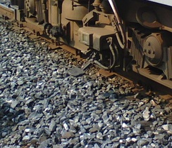 A contact shoe for top-contact third rail on SEPTA's Norristown High Speed Line (third rail not visible in photo)