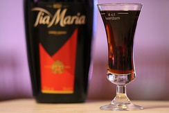 Tia Maria is a dark coffee liqueur with an alcoholic content of 20%.