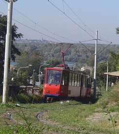 Grassed tramway track in Belgrade, Serbia
