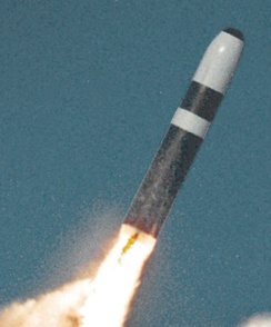 A Trident II missile just after launch.