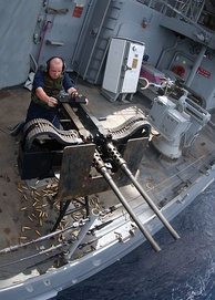 Twin M2HB machine gun during a Pre-aimed Calibration Fire (PACFIRE) exercise in May 2005