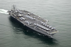 The aircraft carrier USS Nimitz of the United States Navy