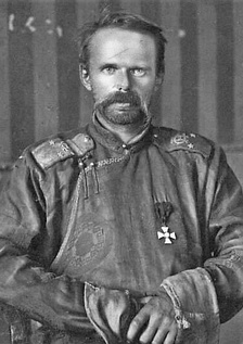Ungern-Sternberg in a Mongolian deel uniform with Russian Order of St. George 4th Class