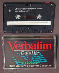 A streamer cassette for data storage, adapted from the audio Compact Cassette format