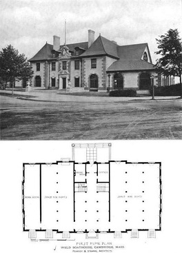 Front view (seen from intersection of modern Memorial Drive and John F. Kennedy Street) with first-floor plan