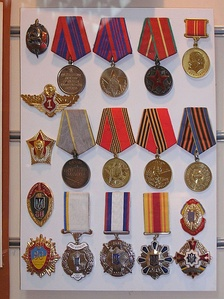 Soviet and Ukrainian medals from the Historical Museum of the Donetsk police