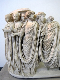 Fragment of a sarcophagus depicting Gordian III and senators (3rd century)