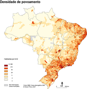 Population density of Brazilian municipalities