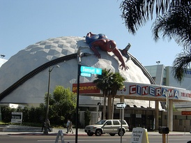 The ArcLight Cinerama Dome decorated for Spider-Man 2 in 2004