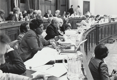 Representative Barbara Jordan (left) became nationally known for her eloquence during the Judiciary Committee's impeachment hearings.