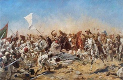 A depiction of the Battle of Omdurman in 1898; in the battle, Churchill took part in a cavalry charge.