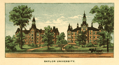 Baylor University, 1892 lithograph