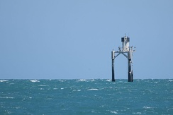A navigational beacon denoting the presence of Orontes Bank off Port Vincent, South Australia.