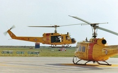 Base Rescue Moose Jaw CH-118 Iroquois helicopters at CFB Moose Jaw, 1982