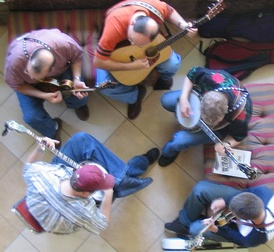 Bluegrass artists use a variety of stringed instruments.