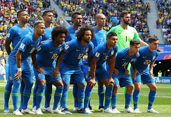 Brazil team photograph prior to their group game against Costa Rica at the 2018 FIFA World Cup
