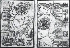 Brouscon's Almanach of 1546: Compass bearings of high waters in the Bay of Biscay (left) and the coast from Brittany to Dover (right).