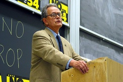 Camejo at UC Berkeley giving a lecture during the 2003 Gubernatorial Recall Election in California