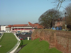 The racecourse stands, with the city walls visible in the right of the image.