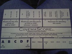 A CinemaScore survey card