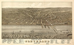 Bird's-eye view of Cleveland in 1877