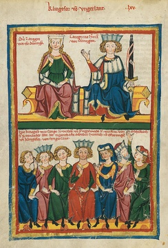 Walther is one of the contestants in this depiction in the Codex Manesse of the Sängerkrieg