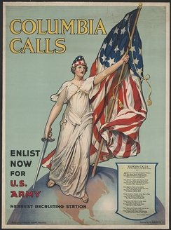 Columbia Calls – Enlist Now for U.S. Army, World War I recruitment poster by Vincent Aderente