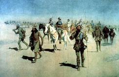 """Vázquez de Coronado Sets Out to the North"" (1540), by Frederic Remington, oil on canvas, 1905"