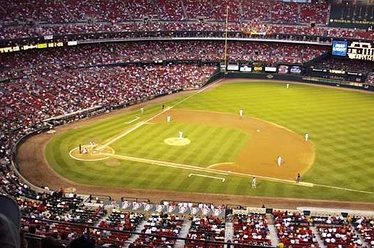 The season's eventual National League Central Division champions St. Louis Cardinals playing host to the Chicago Cubs during a September 2000 game at Busch Memorial Stadium.