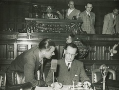 De Gasperi during the first session of the Constituent Assembly