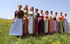 Different colour variations can depend on the origin of the woman wearing a dirndl.