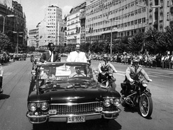 Arrival of the president of Ghana, Kwame Nkrumah, and president of Yugoslavia, Josip Broz Tito, to the Non-Aligned Movement conference, Belgrade, 1961.