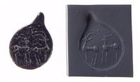 Drop-shaped (tanged) pendant seal and modern impression. Quadrupeds, not entirely reduced to geometric shapes, ca. 4500–3500 BC. Late Ubaid - Middle Gawra periods. Northern Mesopotamia