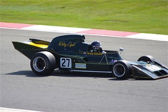 The N173, Ensign's first Formula One car, being driven at Silverstone in 2012.
