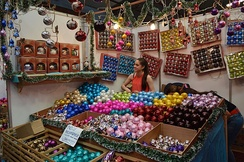 Blown glass baubles for sale in Tlalpujahua, Michoacán, Mexico. The town is known for its production of Christmas ornaments, particularly baubles, with more than 100 million ornaments produced yearly,[3] the majority of which are exported.