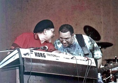 Art Neville (left) and George Porter, Jr. of the Funky Meters at New Orleans Jazz & Heritage Festival 2004