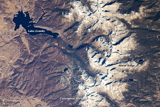 The Continental Divide in the Front Range of the Rocky Mountains of north central Colorado, taken from the International Space Station on October 28, 2008
