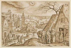 Month December depicted in Hans Bol's and Adriaen Collart's Emblematica Evangelica.