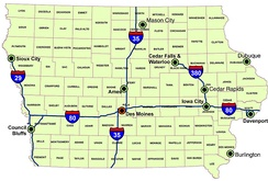 Iowa's major interstates, larger cities, and counties.
