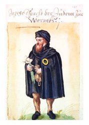16th-century watercolour of a Jew from Worms, Germany. The rota or Jewish ring on the cloak, moneybag, and garlic bulb are symbols of antisemitic ethnic stereotypes.