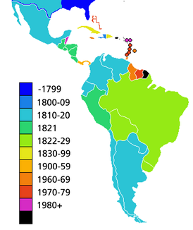 Countries in Latin America by date of independence
