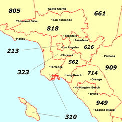 Map of some major area codes in Greater Los Angeles