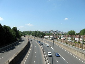 The southern section of the M32 was the last to be built and passes close to numerous housing estates.